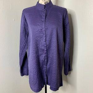 EILEEN FISHER | Purple Silk Button Down Blouse